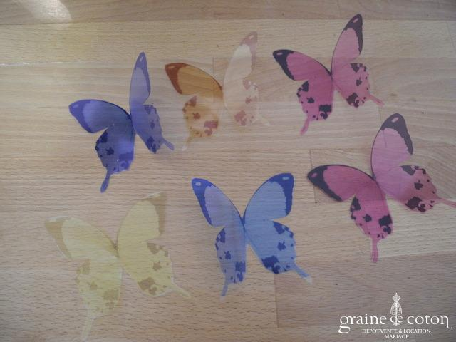 Papillon coloré sur papier rigide transparent