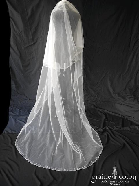 Pronuptia - Voile long de 2,50 mètres en tulle ivoire bordé de cristaux
