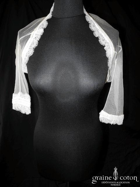 Rosa Clara - Boléro Edna en tulle et dentelle ivoire (manches longues)