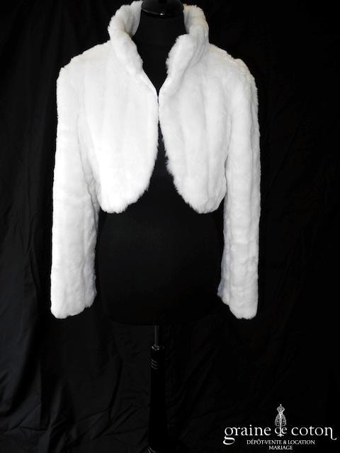 Adriana Alier - Boléro veste en fausse fourrure ivoire