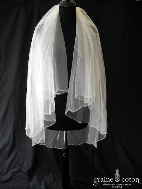 Pronovias - Voile mi long en tulle ivoire bordé de fines perles