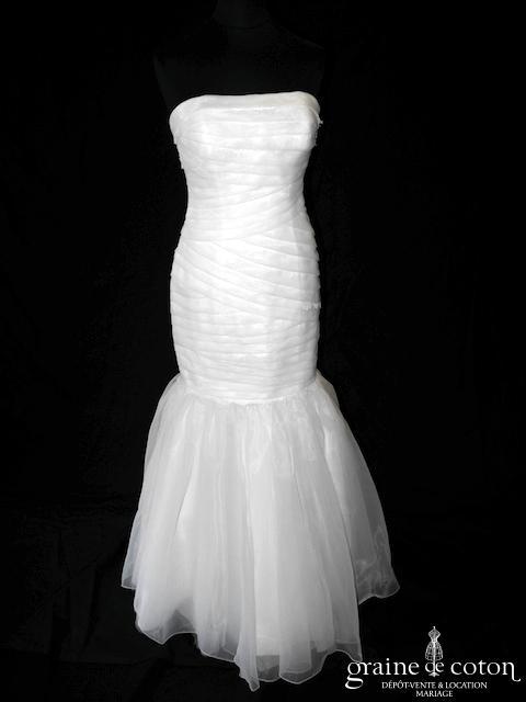 Max Chaoul - Robe sirène trasformable courte et longue en organza ivoire clair (plissé laçage)
