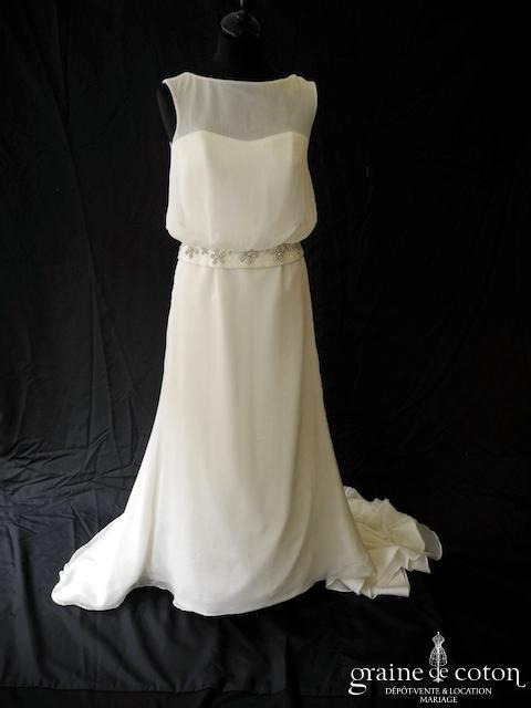 La Sposa (Pronovias ) - Murillo (fluide mousseline dos boutonné bretelles taille basse années 20)