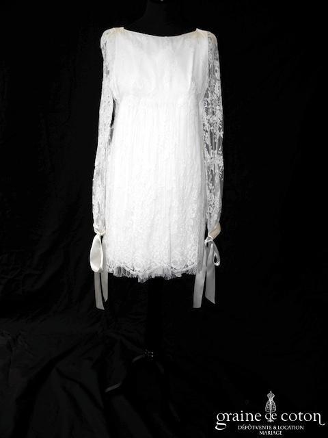 Delphine Manivet - Théodore (courte dentelle empire manches longues bohème fluide bretelles)