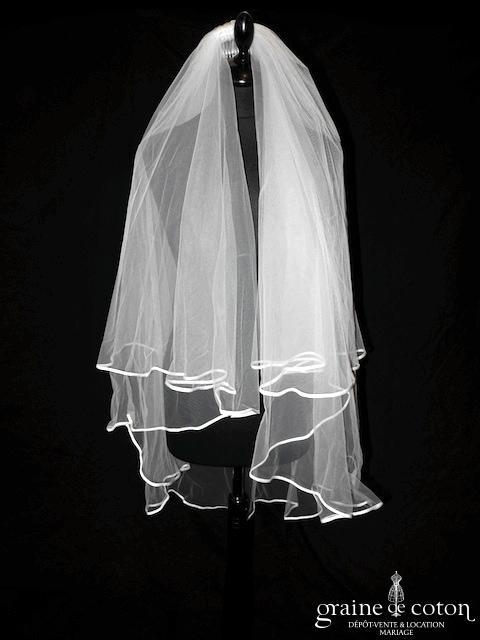 Pronovias - Voile mi long en tulle ivoire clair bordé d'un biais de satin