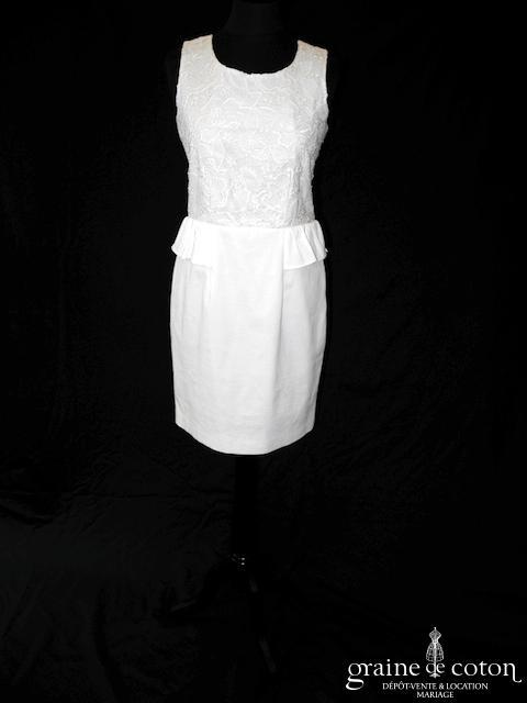 Cyrillus - Robe courte en dentelle et piqué de coton ivoire (bretelles)