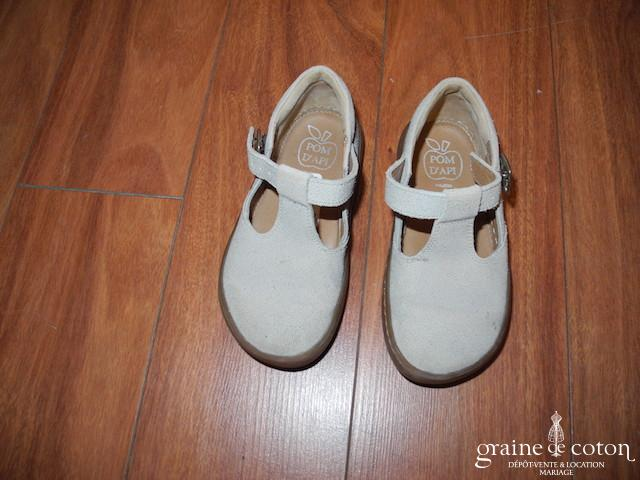 Pomme d'Api - Chaussures enfant en cuir et tissu taupe
