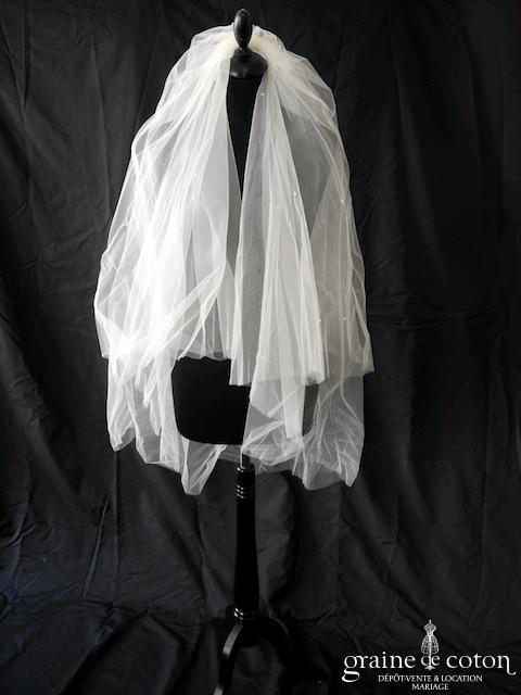 Yolan Cris - Voile mi long souple en tulle ivoire orné de cristaux Swarovski, bords bruts