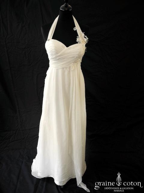 Ana Quasoar - Liane (fluide empire coeur drapé mousseline soie dentelle bretelles tour de cou bohème)
