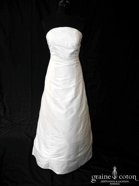 Création - Robe une pièce en soie sauvage ivoire (dos boutonné bustier)
