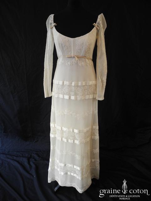 Cymbeline - Robe vintage en dentelle ivoire (empire tulle coton manches bretelles laçage fluide droite bohème)