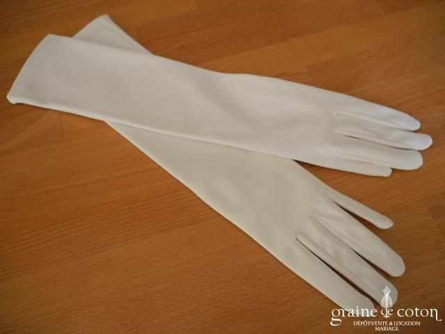 Gants longs blanc en satin stretch