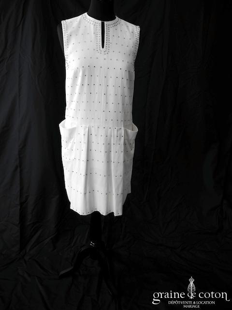 Chloé - Création courte blanche en soie et strass Swarovski (bretelles poches)