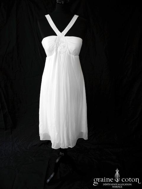 123 - Robe courte empire en mousseline de soie ivoire clair (bretelles  fluide) ... 594607d4431