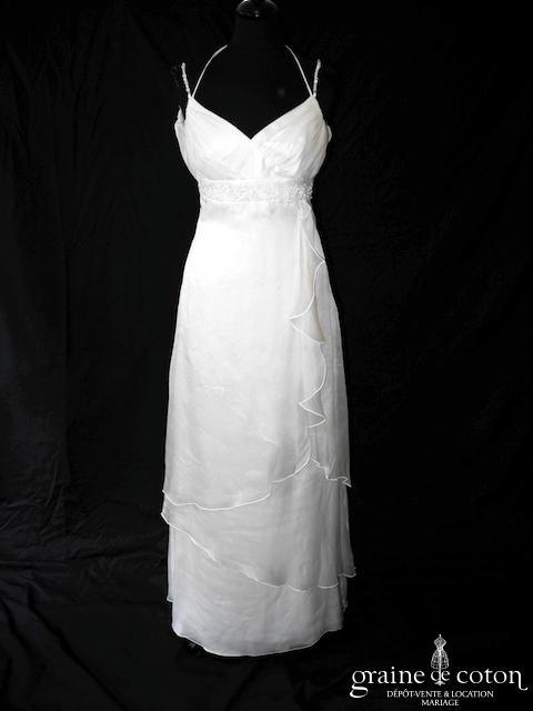 Linea Raffaëlli - Robe empire en organza de soie ivoire (fluide bretelles dentelle dos nu)