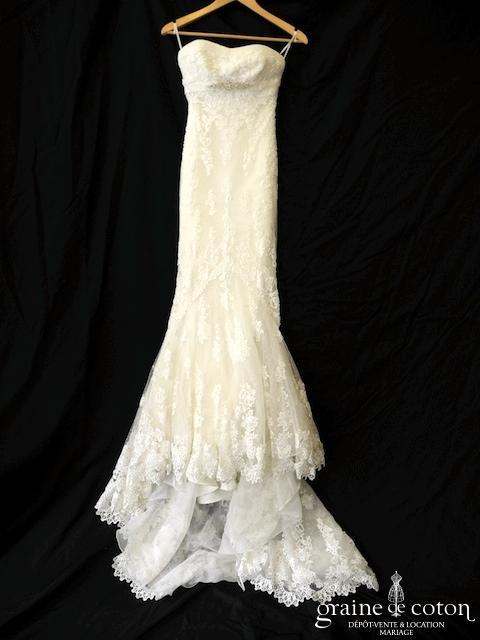 Pronovias - Balira (dentelle sirène empire tulle plissé fluide dos boutonné bustier)