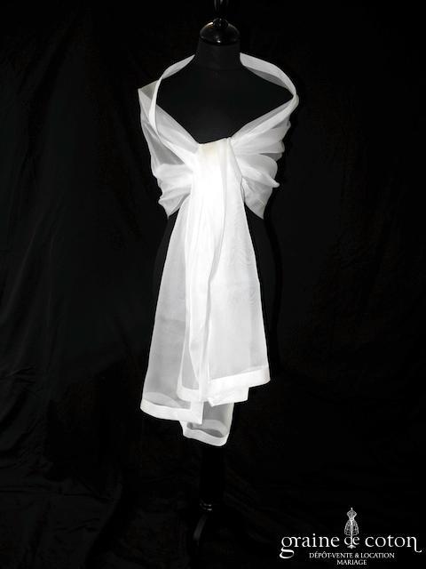 Cymbeline - Étole en organza de soie ivoire bordé d'un large biais