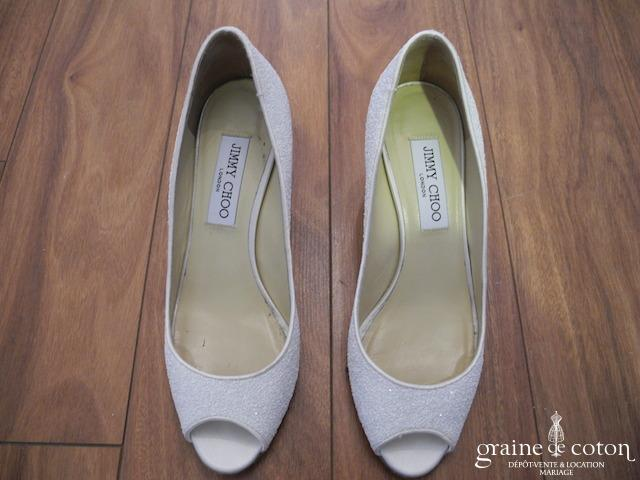 Jimmy Choo - Escarpins (chaussures) ouverts pailletés ivoire