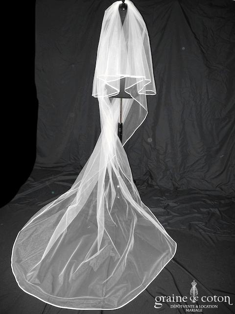 Bianco Evento - Voile double long de 300 cm en tulle ivoire bordé de satin (S146)
