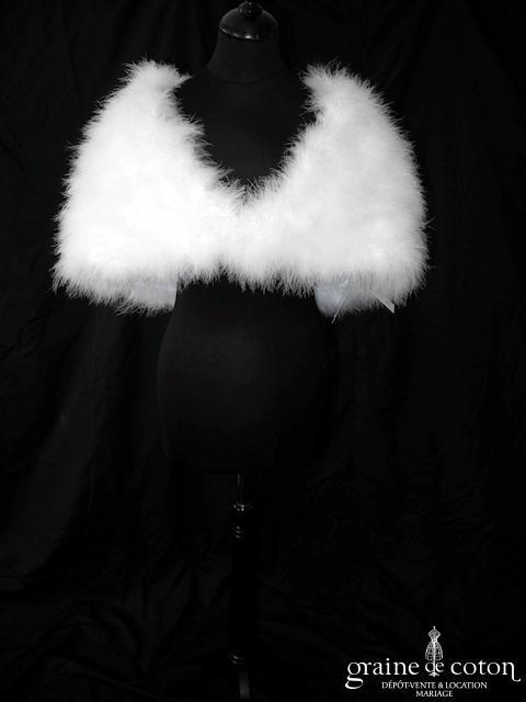 Bianco Evento - Boléro / étole en plume duvet de marabout blanc (E184)