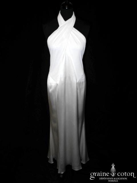 Ralph Lauren - Création dos nu en satin de soie ivoire (bretelles tour de cou fluide)