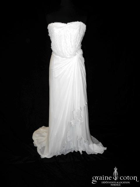 Cymbeline - Robe années 20 en mousseline de soie ivoire (fluide taille basse dos boutonné coeur bohème bustier)