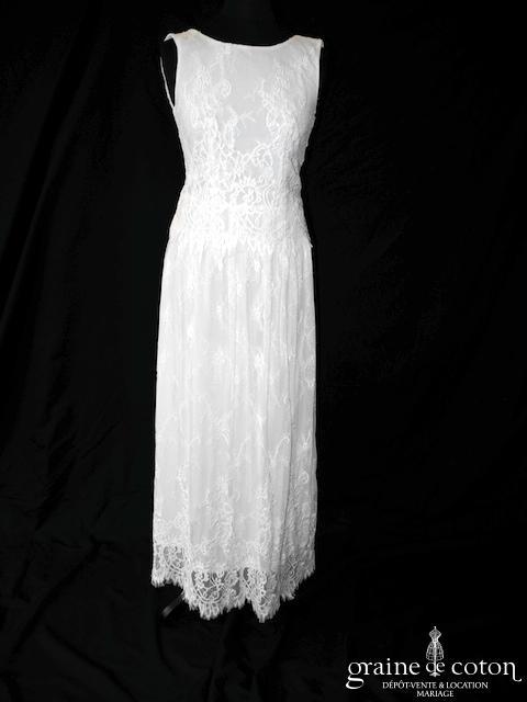 Derhy - Robe mi longue en dentelle (courte bretelles bohème fluide)