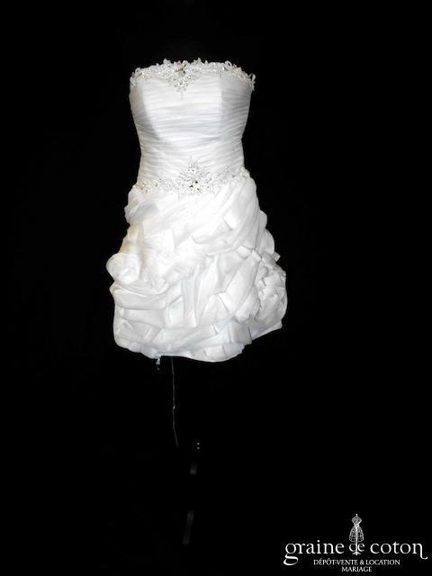 Déclaration - Robe courte en mousseline ivoire clair (bustier bretelles laçage)