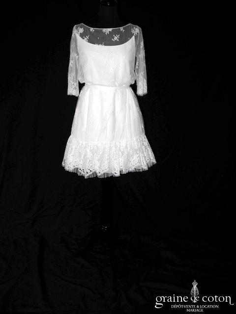 Delphine Manivet - Lilian (courte dentelle crêpe soie bretelles manches bohème)