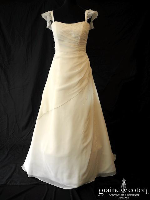 Fara Sposa - Robe en mousseline drapée (fluide bretelles laçage bustier)