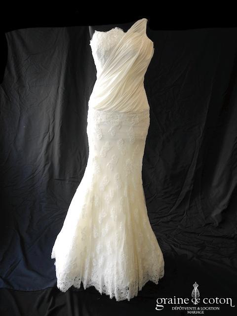 Pronovias - Aranda (taille basse fluide drapé années 20 bretelles mousseline de soie sirène tulle pierres)