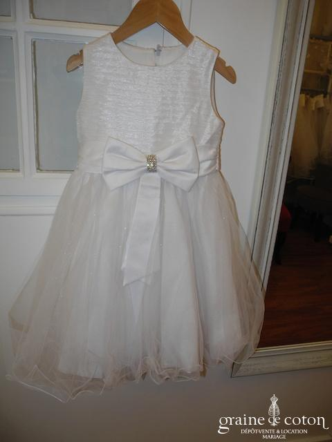 Robe de demoiselle d'honneur en tulle blanc