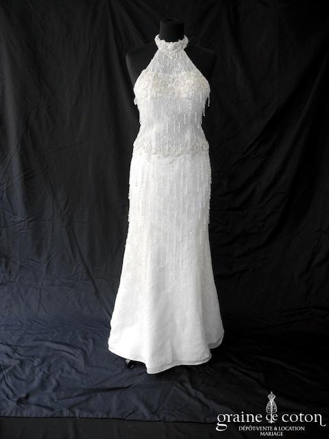 Madeline Gardner - Robe une pièce sirène perlée ivoire (tour de cou dos nu)