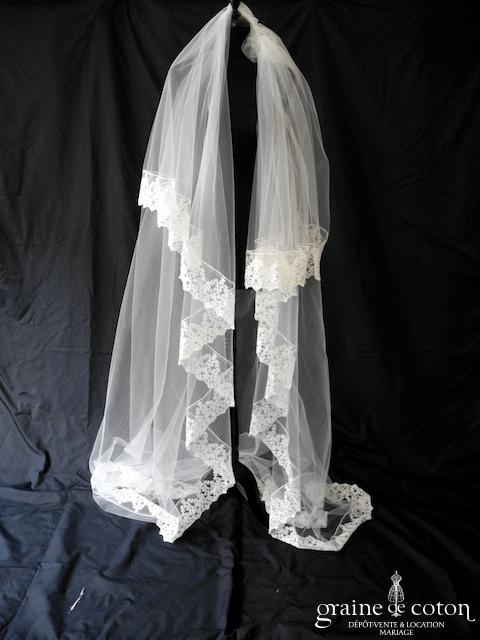 Organse - Voile long de 3 mètres en tulle ivoire clair bordé de dentelle brodée ivoire