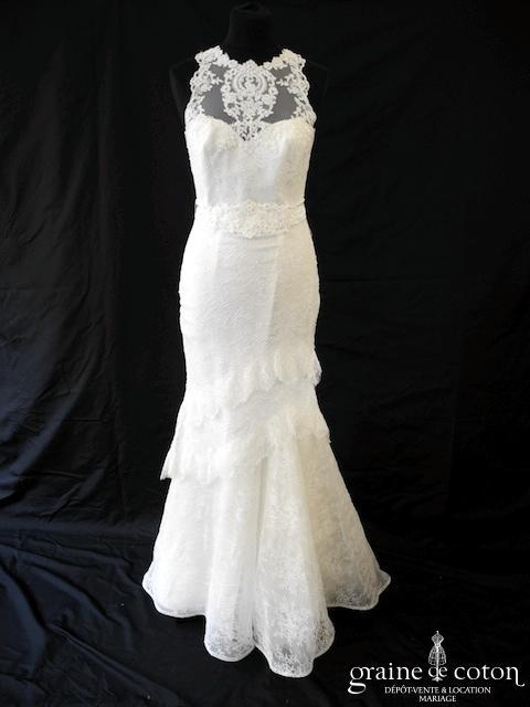 Cymbeline - Robe sirène en dentelle ivoire (bretelles dos-nu dos boutonné coeur)
