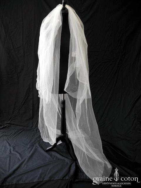 Jesus Peiro - Voile long de 2 mètres en tulle ivoire