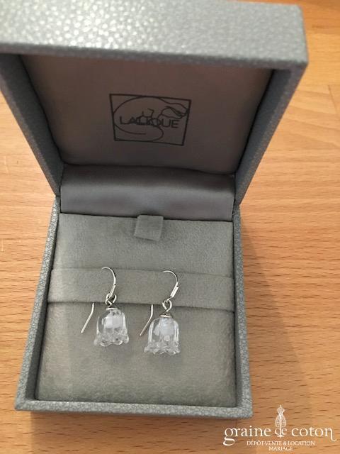 Lalique - Boucles d'oreilles tulipes en cristal