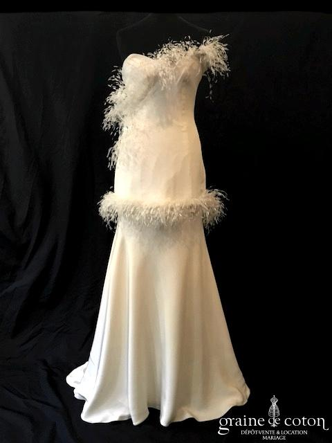 Isabella Kettiny - Pékin (bustier plumes coeur taille basse crêpe de soie fluide années 20 bretelles)