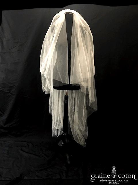 Pronovias - Voile long de 2 mètres en tulle ivoire