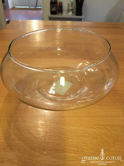 Centre de table rond en verre transparent