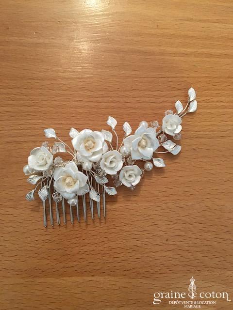 Bianco Evento - Peigne fleurs ivoires et strass (0292)