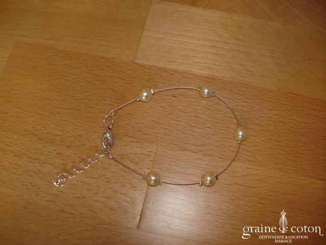 Au fil perlé - Bracelet 1 rang perles ivoires