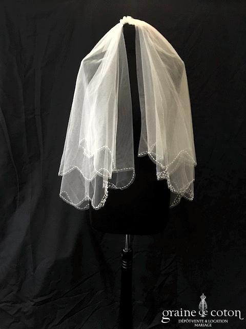 Hervé Mariage - Voile court en tulle ivoire clair bordé de perles transparentes