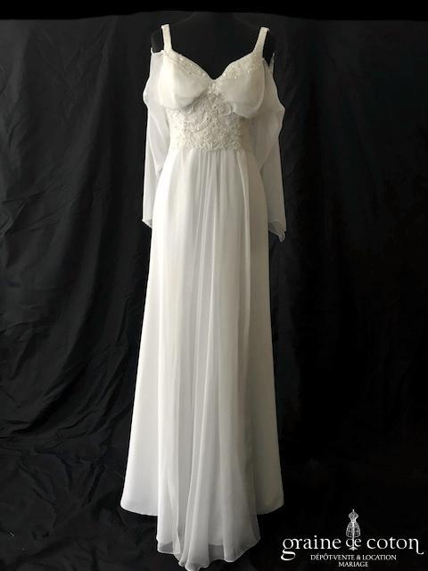 Oksana Mukha - Tess (empire mousseline blanche bretelles coeur manches fluide)