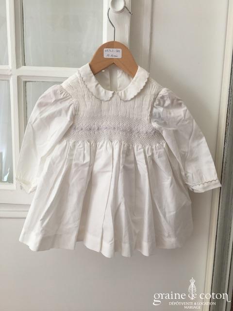 Hibiscus - Robe demoiselle d'honneur petite fille en coton blanc manches longues avec bloomer