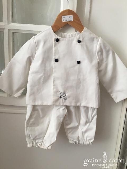 Hibiscus - Ensemble petit garçon blanc et broderies marine