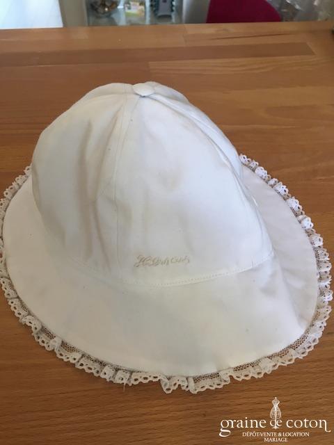 Hibiscus - Chapeau en coton et dentelle blanc