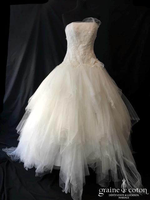 Les mariées de Provence - Délia (bustier laçage mouchoirs de tulle dentelle perles taille basse)