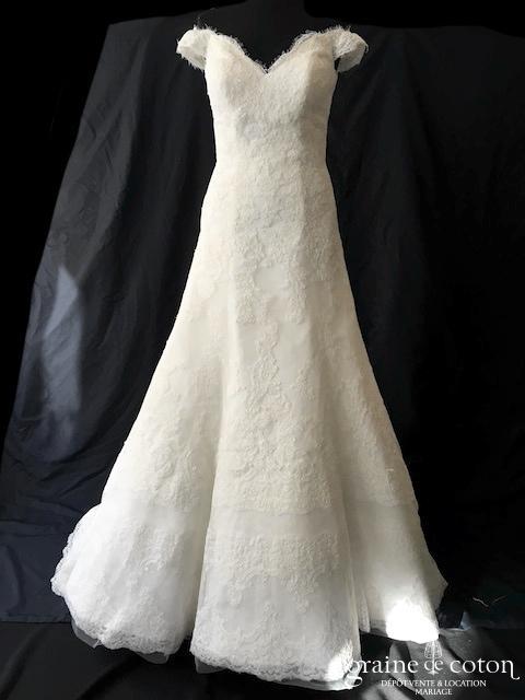 Pronovias - Batala (manches bretelles coeur taille basse dentelle dos-nu A-line)