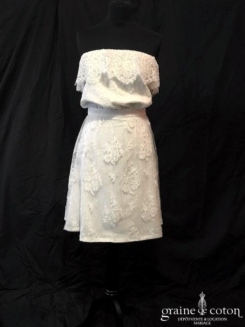 Delphine Manivet - Robe courte bustier en dentelle et soie